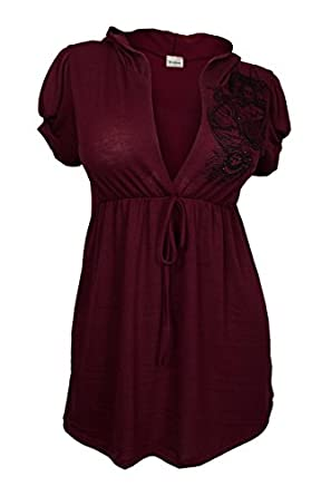 eVogues Plus size Low Cut V-neck Hoodie Top Burgundy - Small