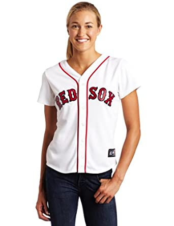 MLB Boston Red Sox Dustin Pedroia White Home Replica Baseball Ladies Jersey, White by Majestic
