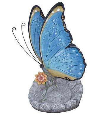 Butterfly Tabletop Sculpture Statue with Dish, 12-inch, Bird Feeder Bath, Trinket Keys Candy (Blue)