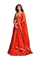 Isha Enterprise Women's Net Orange Lehenga Choli