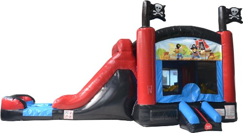 Bounce House Inflatable Pirate Combo Wet Or Dry Slide And Moonwalk Includes 1.5 Hp Blower And Free Shipping front-69933