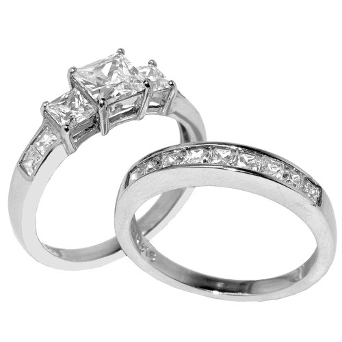 Lanyjewelry Three Stone 6mm Princess CZ Stainless Steel Wedding Ring Set-9