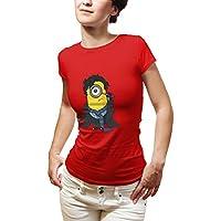 Fanideaz Silky Polyester Sherlock Minion TShirt for Women_Red_XXL