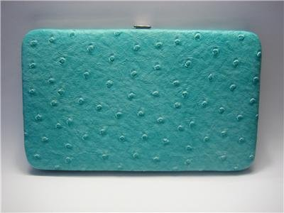 New Aqua Ostrich Flat Opera Wallet w/Checkbook Holder Clutch Purse