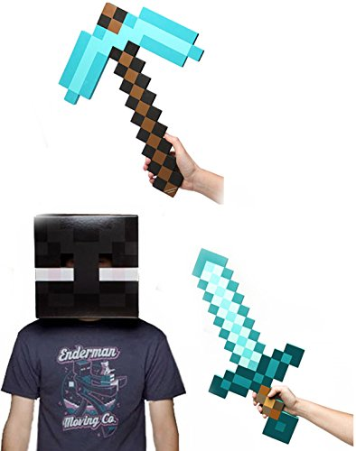 Minecraft Enderman Head, Diamond Sword & Pickaxe Costume Set