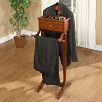 Men's Suit Valet Stand Organizer in Marquis Cherry Finish