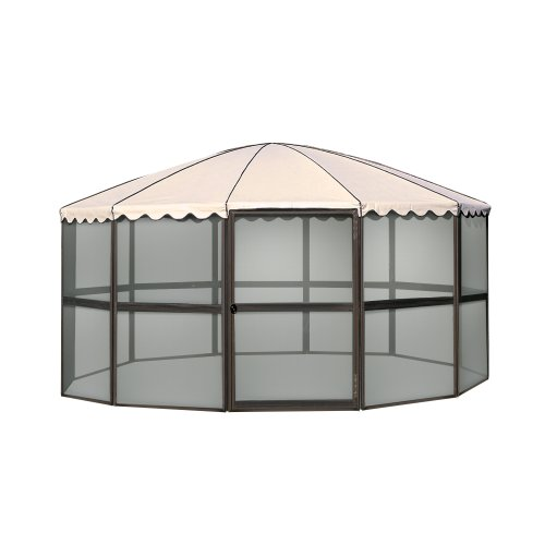 Casita 23165 12-Panel Round Screen House, Chestnut Frame with Almond Roof, Outdoor Stuffs