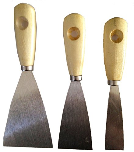 Wood Handle Steel blade Putty Knife and Scraper (Set of 3)