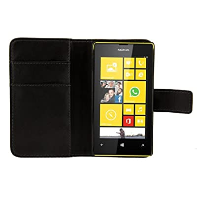 kwmobile Elegant synthetic leather case for the Nokia Lumia 520 with magnetic fastener and stand function in black from KW-Commerce