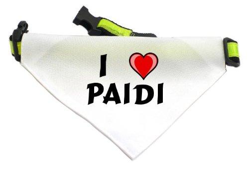 Personalisierter Weißer Hundschal mit Aufschrift Ich liebe Paidi (Vorname/Zuname/Spitzname)