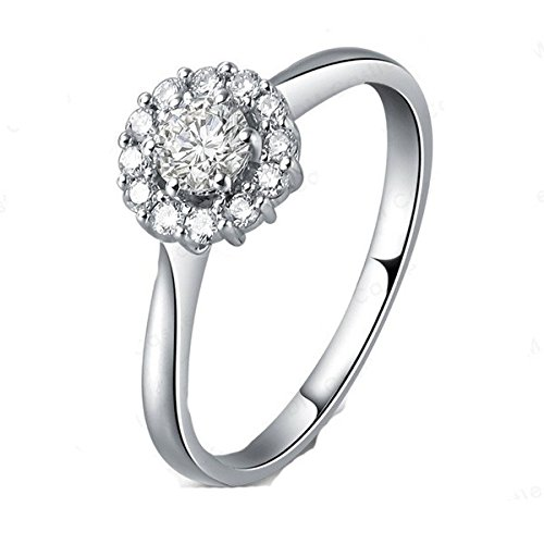 0.58 Carat Halo Discount Engagement Ring with Round cut Diamond on 18K White gold