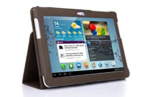 SupCase Slim Fit Folio Leather Tablet Case Cover for 10.1-Inch Samsung Galaxy Tab 2, Brown (S5113-62A-BR)