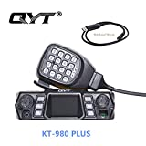 QYT KT-980 Plus VHF 136-174mhz UHF 400-480mhz 75W Dual Band KT-980plus Mobile Radio Base Amateur Walkie Talkie Transceiver, Quad-Standby + Programming Cable