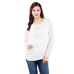 Centiaro Women's Casual Wear White Poly Cotton Top