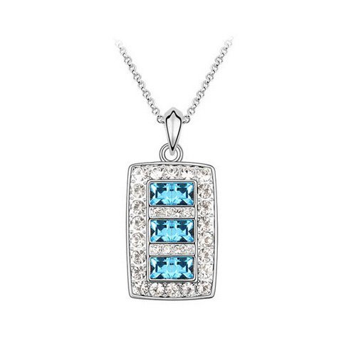 Top Value Jewelry - Beautiful 18K Gold Plated White/Azure Pave Crystal Rectangle Pendant Necklace, Free 18 Inch Chain