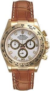 Rolex Daytona White Diamond Dial Leather Bracelet 18k Yellow Gold Mens Watch 116518WDL