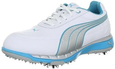 Puma FAAS Trac Wns 185912, Damen Sportschuhe - Golf, Weiss (white-silver metallic-blu 2), EU 36 (UK 3.5) (US 6)