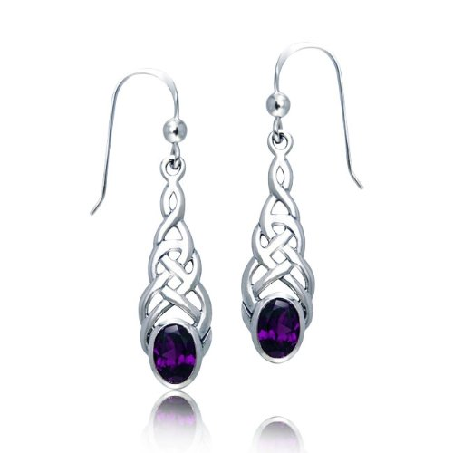 Bling Jewelry Celtic Knotwork Genuine Oval Amethyst Sterling Silver Dangle Earrings