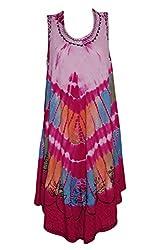 Indiatrendzs Women Dresses Tie-Dye Pink Rayon Casual Sleeveless Dress Chest : 48