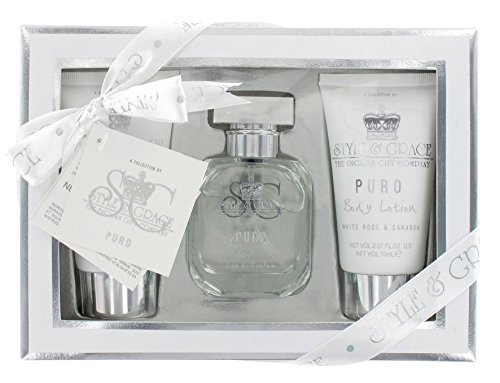Style & Grace Puro Fragrance, Set regalo Docciaschiuma 1 x 70 ml + Lozione Corpo 1 x 70 ml, Eau De Parfum Spray 1 x 50 ml + Crema mani 1 x 70 ml