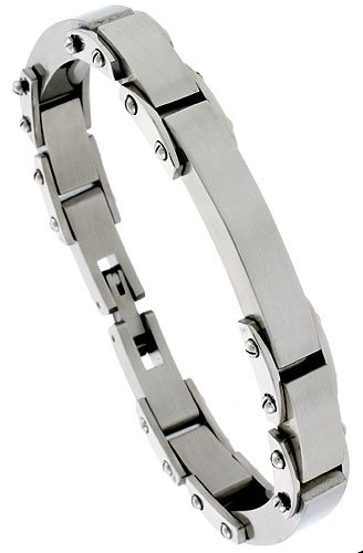 Stainless Steel Solid Heavy Link ID Bracelet little 3/8 inch wide, 8 1/2 inch long