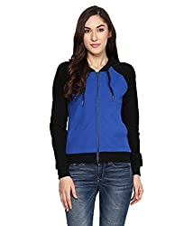 Hypernation Royal Blue and Black Color Front Open Cotton Jacket