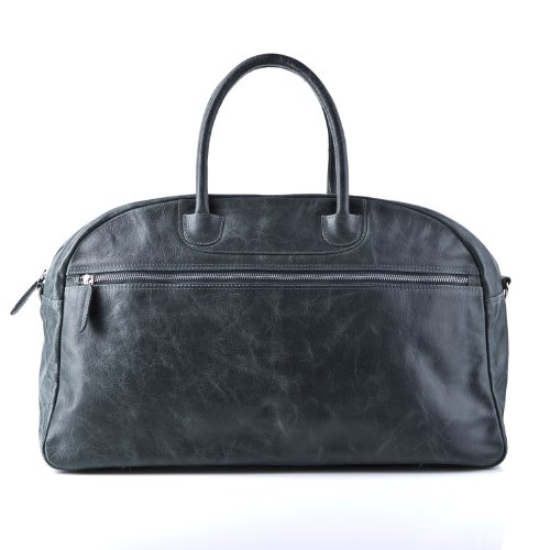 BACCINI large travel duffle bag COX for men - crafted weekender (holdall) in genuine grey vintage leather (22 x 12 x 8 in.)