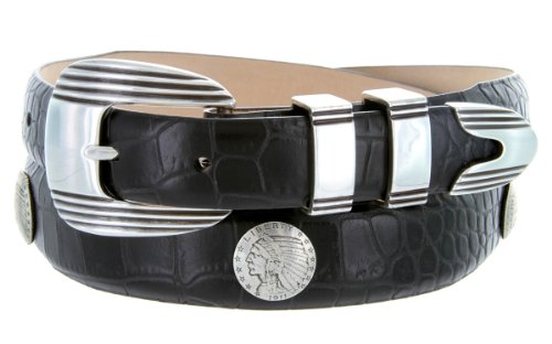 Italian Calfskin Leather Belt with Designer Buckle and Indian Head Coin Conchos (34, Alligator Black)