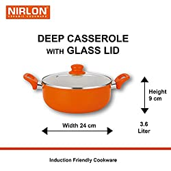 NIRLON Metal Spoon Friendly Reinforced Ceramic 4 Layer Non-Sick Induction Deep Casserole 3.1 liter diameter-24cm , height-9 cm with Glass Lid - Orange/beige (Heavy Aluminum,PFOA Free)