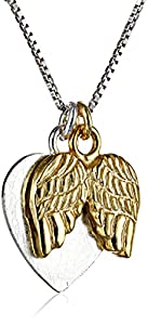 "Two-Toned Sterling Silver with Yellow Gold Flashed ""Faith"" Heart Charm with Angel Wings Necklace, 18"""
