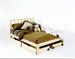 Amazon Com Full Size Mission Platform Bed Frame Unfinished Chemical Free Pine Made In Usa Solid Wood Furniture Amp Decor