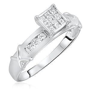 1/3 Carat T.W. Round, Princess Cut Diamond Women's Engagement Ring 10K White