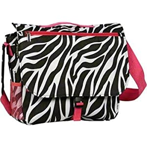 Zebra Hot Pink Messenger Laptop Computer Bag Case