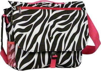 Zebra Hot Pink Messenger Laptop Computer Bag Case