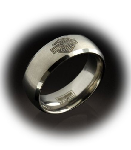 Harley-Davidson® Men's Stamper® Brushed with Polished Edgeds Tungsten Ring. Etched Bar & Shield. TGR43