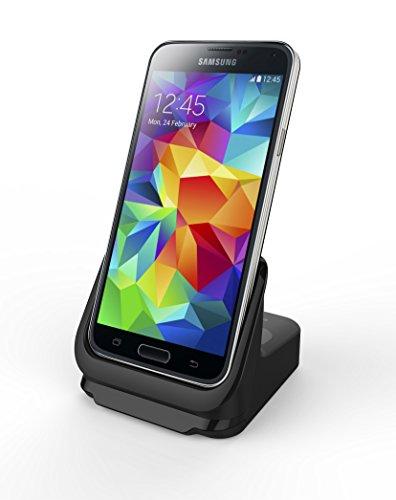 Tmvel 3.0 Usb Dual Charging Dock Cradle For Samsung Galaxy S5 G900 G900H G900F T-Mobile, At And T, Verizon With Battery Charging Slot - Retail Packaging - Black