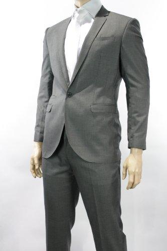 Mens 1 Button Grey Suit Semi Slim Fit