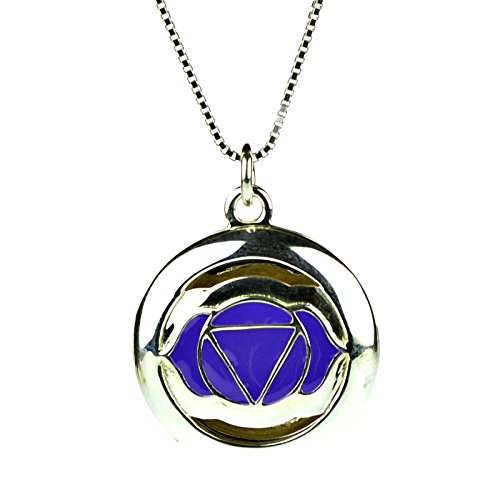 925 Sterling Silver 6th Third Eye Yoga Seven Chakra Aromatherapy Essential Oil Diffuser Locket Necklace & 5 refill pads
