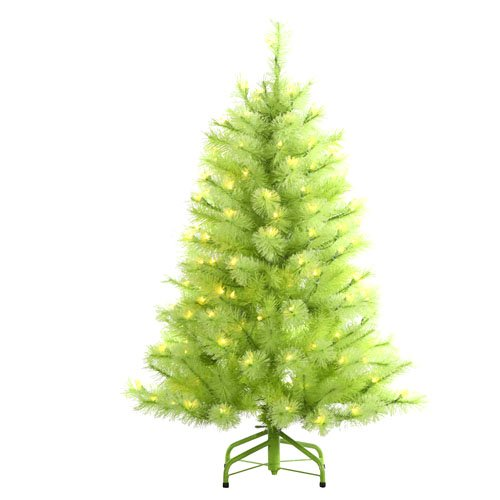 4 pre lit lime green cashmere pine artificial christmas tree green lights - Lime Green Christmas Tree