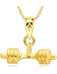 VK Jewels Sultan Collection Sports N Fitness Dumbell Gold Plated Alloy Pendant With Chain For Men & Boys - P2150G...