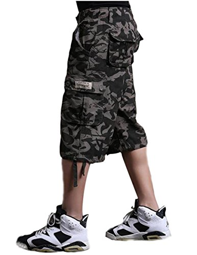 Mens Army Camouflage Camo Shorts Pants Casual Military Cargo Combat Trousers (42, Black camo) Army Camouflage Shorts
