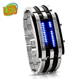 Taobaopit Trendy Design Long Lasting Shockproof Army Style LED Watch with Alloy Bracelet and 28 Blue LED Lights for Time &amp; Date Display