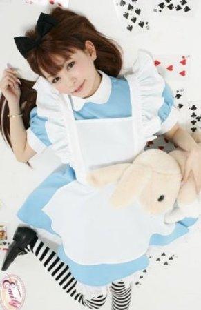 不思議の国のアリス メイド コスプレ衣装 清楚 かわいい 水色 白×黒ボーダーソックス付 ニーハイ 縞々