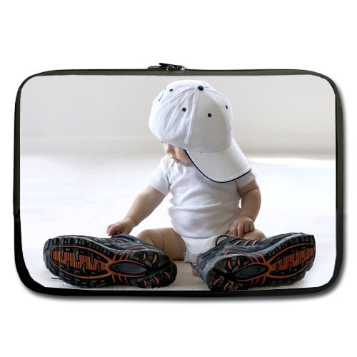 Cute Baby Wearing Big Shoes Sleeve For Macbook Pro 11 Inch (Two Sides) front-208727
