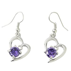 niceeshop(TM) 1 Pair Hight Quality Fashion Diamond Jewelry Crystal Rhinestone Love Heart Silver Earrings Ear Drop-Purple