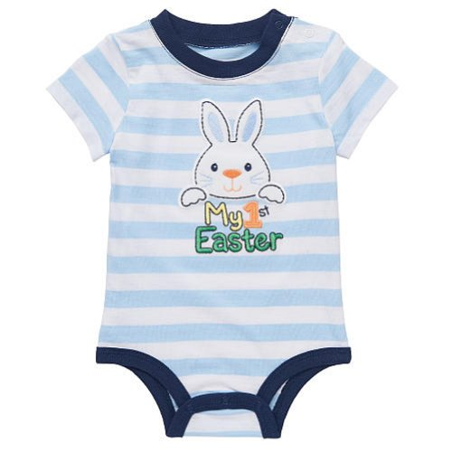 Embroidered Boys Baby My 1st Easter Short Sleeve Bodysuit Dress Up Outfit