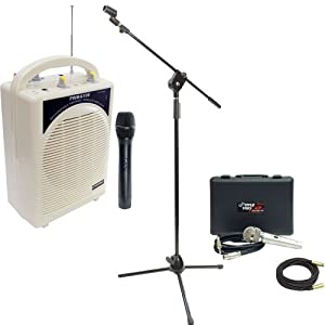Pyle Speaker, Mic, Cable and Stand Package - PWMA100 Rechargeable Portable PA System with Wireless MIC - PDMIK4 Dynamic Microphone with Carry Case - PMKS3 Tripod Microphone Stand W/ Extending Boom - PPMCL50 50ft. Symmetric Microphone Cable XLR Female to XLR Male