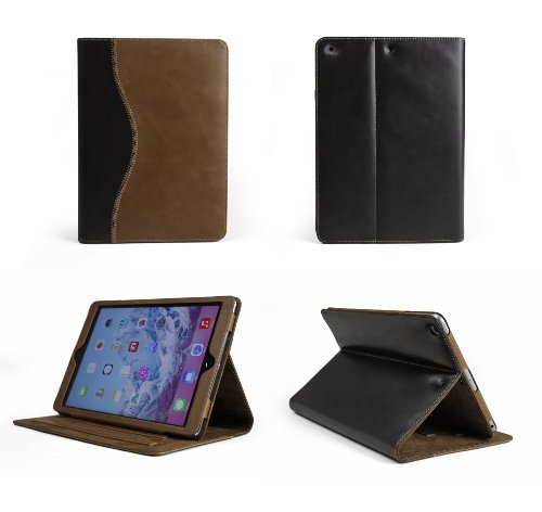 Bear Motion Luxury 100% Genuine Top Layer Buffalo Hide Vintage Leather Case for Apple iPad Air Support Smart Cover Function (iPad Air, Curve Brown/Brown)