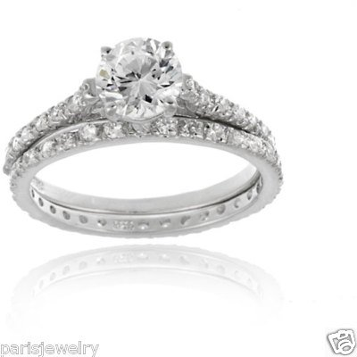 ParisJewelry Sterling Silver Diamond Bridal Engagement Ring Set
