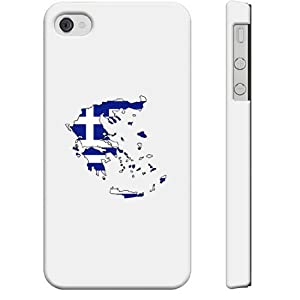 SudysAccessories Greece Flag Map iPhone 4 Case iPhone 4S Case - SoftShell Full Plastic Direct Printed Graphic Case